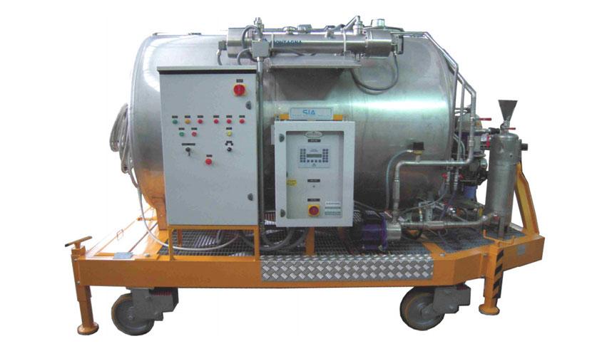 Banco carrellato per la rigenerazione di emulsioni lubrorefrigeranti